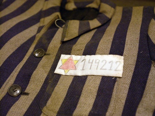 Ben Guyer, of Gombin, Poland, wore this concentration camp uniform while imprisoned at Auschwitz.