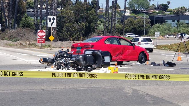 This was the scene of a fatal motorcycle crash Tuesday at the intersection of East Harbor Boulevard and Monmouth Way in Ventura at the Seaward Avenue offramp from southbound Highway 101.
