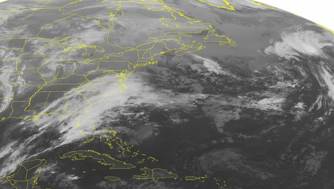 This NOAA satellite image taken Dec. 22, 2014, shows a developing low pressure system along a stationary to warm front over the southeastern United States. Predicting weather ahead of time is often just a guessing game.