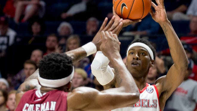 Ole Miss' Rasheed Brooks (14) scored 22 points in a loss to Creighton on Monday.