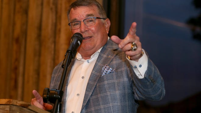 MTSU Head Women's basketball Coach Rick Insell speaks to the crowd during a celebration at The Grove in Murfreesboro, on Monday, Aug. 7, 2017, to celebrate Insell's induction into the Women's Hall of Fame, in June.