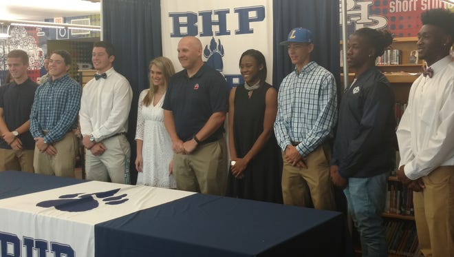 Eight BHP athletes signed to play in college during a ceremony at the school Friday.