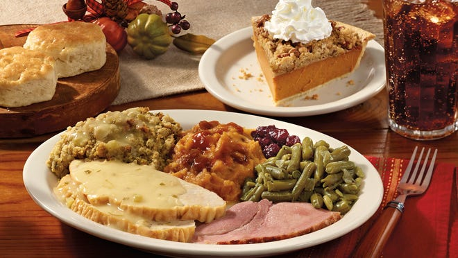 Cracker Barrel is one of many places that offers heat-and-serve holiday meals.
