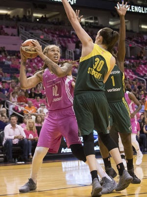 Phoenix Mercury's Brittney Griner (42) shoots the ball during the first quarter against the Seattle Storm on Saturday, Aug. 12, 2017 at Talking Stick Resort Arena in Phoenix, Ariz.