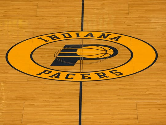 Indiana Pacers logo on center court.