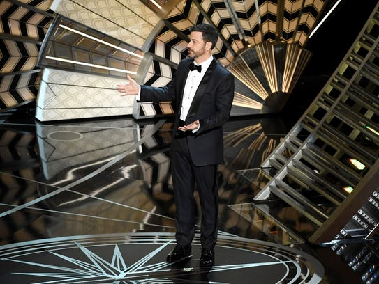 Host Jimmy Kimmel speaks onstage during the 89th Annual