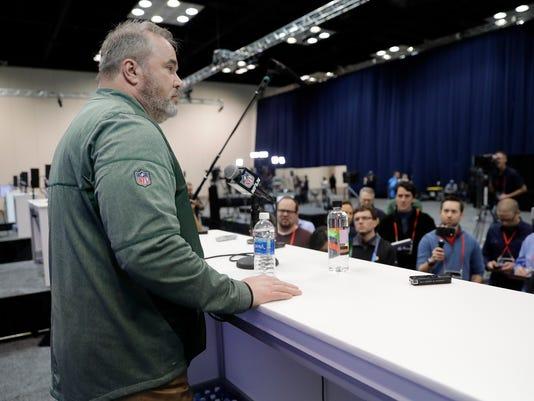 Green Bay Packers head coach Mike McCarthy speaks during a press conference at the NFL football scouting combine, Wednesday, Feb. 28, 2018, in Indianapolis. (AP Photo/Darron Cummings)