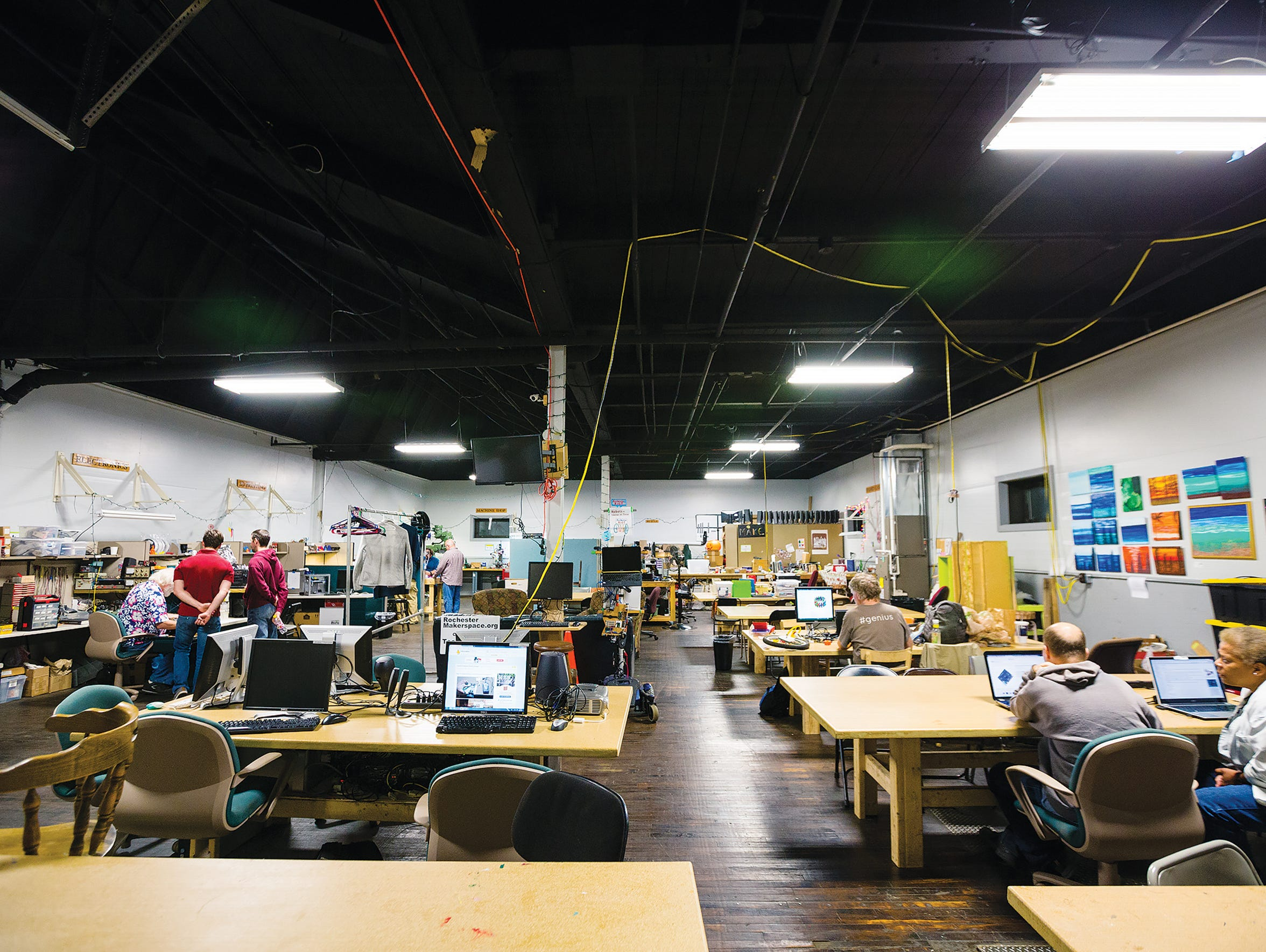 At Rochester Makerspace on St. Paul Street, people
