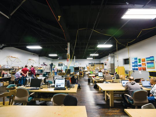 At Rochester Makerspace on St. Paul Street, people can drop in for a small fee and use materials and shared equipment. Kids and older people alike use the space.