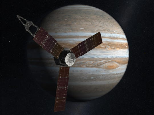 An artist's conception of the Juno spacecraft in orbit