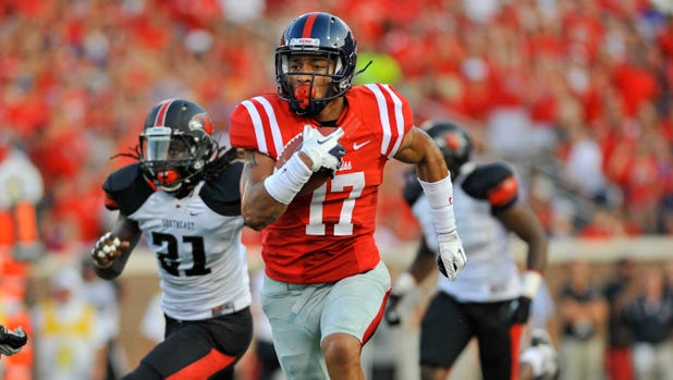 Ole Miss sophomore tight end Evan Engram has 14 catches for 175 yards this season.
