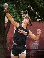 Tech's James Kaczor competes in the shot put finals