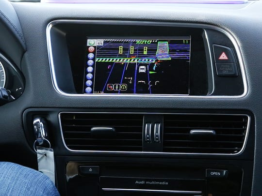 The center stack display of Delphi's self-driving vehicle