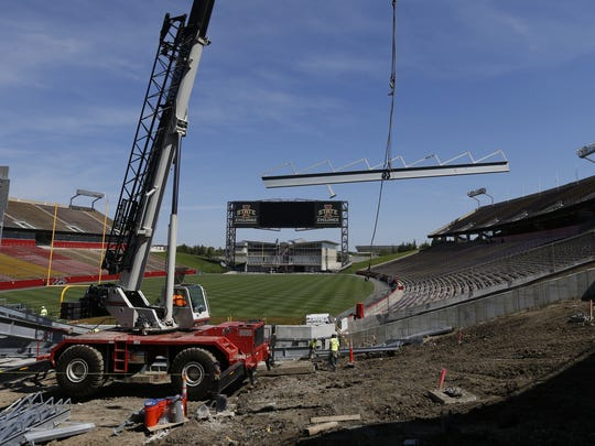 Work continues on Wednesday, on the expansions and improvements of the south end of Jack Trice Stadium in Ames.