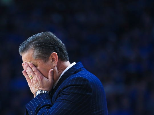 """Kentucky's John Calipari reacts with disbelief during the first half. """"This is always a process here when you're talking young players,"""" Calipari said afterwards. """"Where do we go? We have to be a better defensive team than we are."""" Kansas beat the Wildcats 79-73 at Rupp Arena Saturday."""