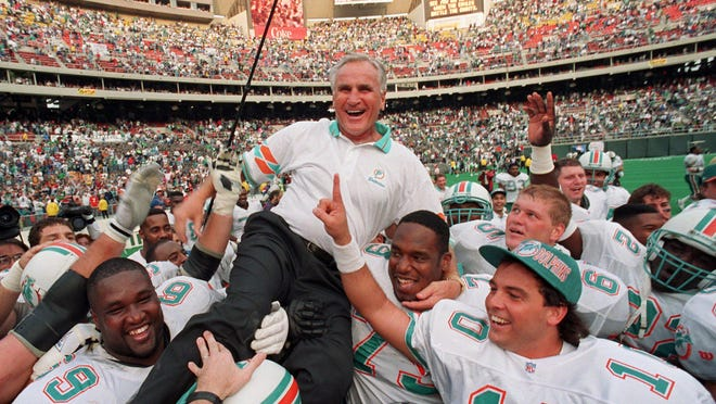 Don Shula, who won an NFL record 347 games, died Monday. Shula led the Dolphins to the league's last undefeated season in 1972. The Dolphins went 17-0.