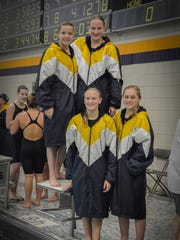 The Tomahawk 400 freestyle team (Rachel Dallman, Katy Volz, Mikhayla Kleich, Baylee Dallman) will compete at this weekend's state swimming meet.