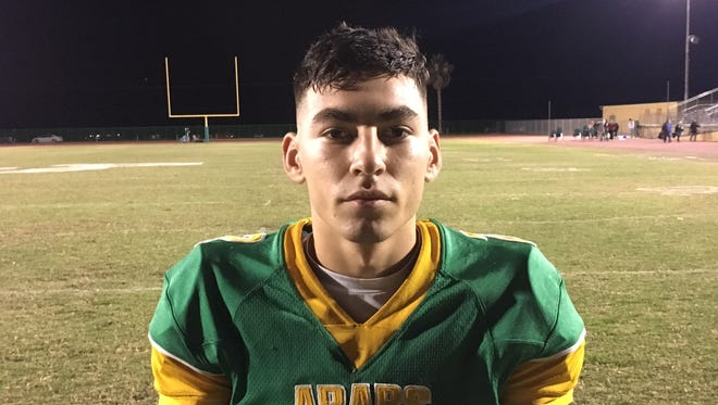 Coachella Valley senior Timmy Garcia was voted our Friday Night Hero after his two interceptions in Friday's win over Ramona 45-7.