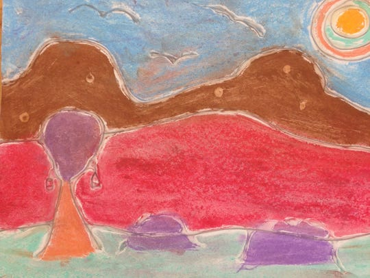 This chalk landscape by third-grader Juliana is one