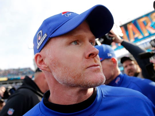 Jan 7, 2018; Jacksonville, FL, USA; Buffalo Bills head coach Sean McDermott walks off the field as he lost to the Jacksonville Jaguars of the AFC Wild Card playoff football game at Everbank Field. Jacksonville Jaguars defeated the Buffalo Bills 10-3. Mandatory Credit: Kim Klement-USA TODAY Sports