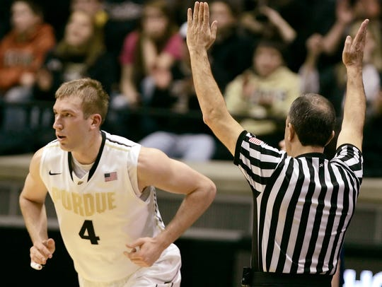 Robbie Hummel runs down the court after hitting a 3-pointer during a 2012 victory against Northwestern.