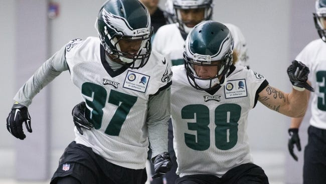 Eagles cornerback C.J. Smith (37) goes through a drill during the rookie minicamp last May. Smith was promoted to the 53-man roster Thursday.