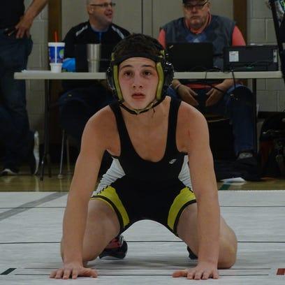 River View's Braiden Davis prepares to wrestle in the