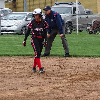 Courtney Guthrie walks back to second after taking