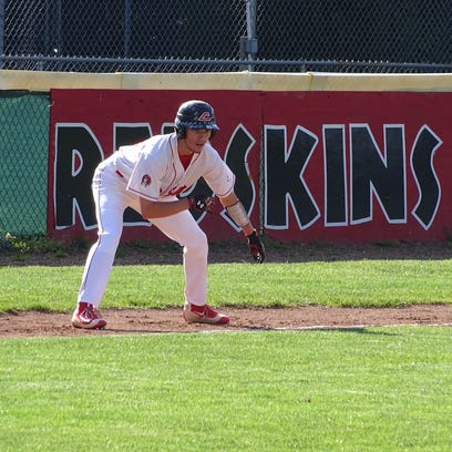 Hunter Haas takes his lead on third base Friday.