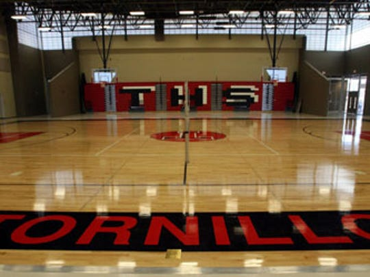 The new Tornillo High School features a state-of-the-art gymnasium, locker rooms and a smaller auxiliary gym nearby.
