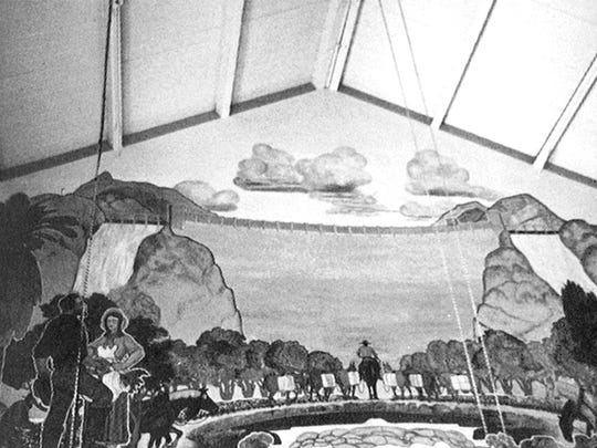 "Two John A. MacQuarrie murals were highlights of the 1931 Southern Pacific Depot at Robson and Third Avenue. The one pictured was titled ""Conquest of the Salt River Valley by the Mormons."""