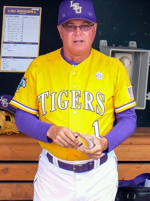 Jun 18, 2015; Omaha, NE, USA; LSU Tigers head coach Paul Mainieri awaits the start of the game against the TCU Horned Frogs in the 2015 College World Series at TD Ameritrade Park. Mandatory Credit: Steven Branscombe-USA TODAY Sports