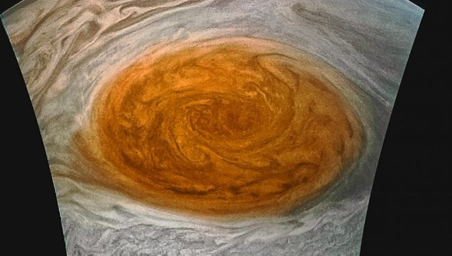 The Juno spacecraft took this image of Jupiter's Great Red Spot during orbit on July 10, 2017.