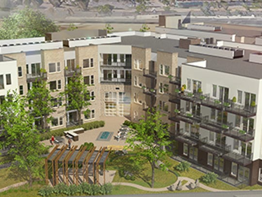 A rendering of Cycle Apartments at Foothills mall along