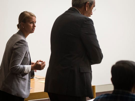 Attorney Samantha Lednicky argues on behalf of two