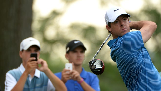 Rory McIlroy in action during the pro am event prior to The Barclays at The Ridgewood Country Club.