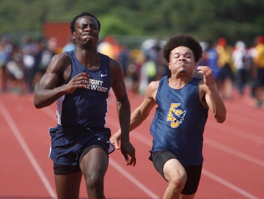 The 100m dash finals during the state championships