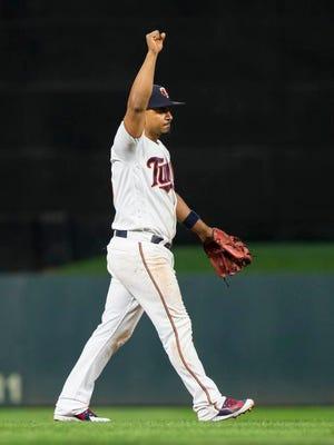 Minnesota Twins third baseman Eduardo Escobar (5) celebrates after the game against Detroit Tigers at Target Field.