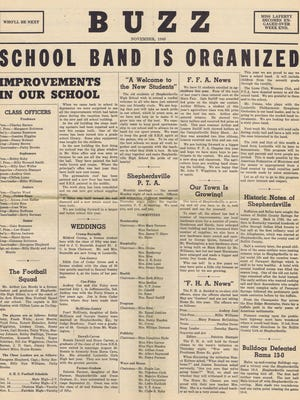 Headlines from the November 1948 issue of the Shepherdsville High School newspaper called BUZZ.