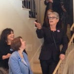 Jamie Lee Curtis (right) addresses a crowd in Waukee on behalf of Hillary Clinton's campaign, featuring Minnesota State Senator Amy Klobuchar.