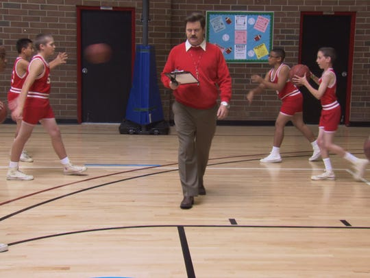 Ron Swanson dresses up as former Indiana University  basketball coach Bob Knight.