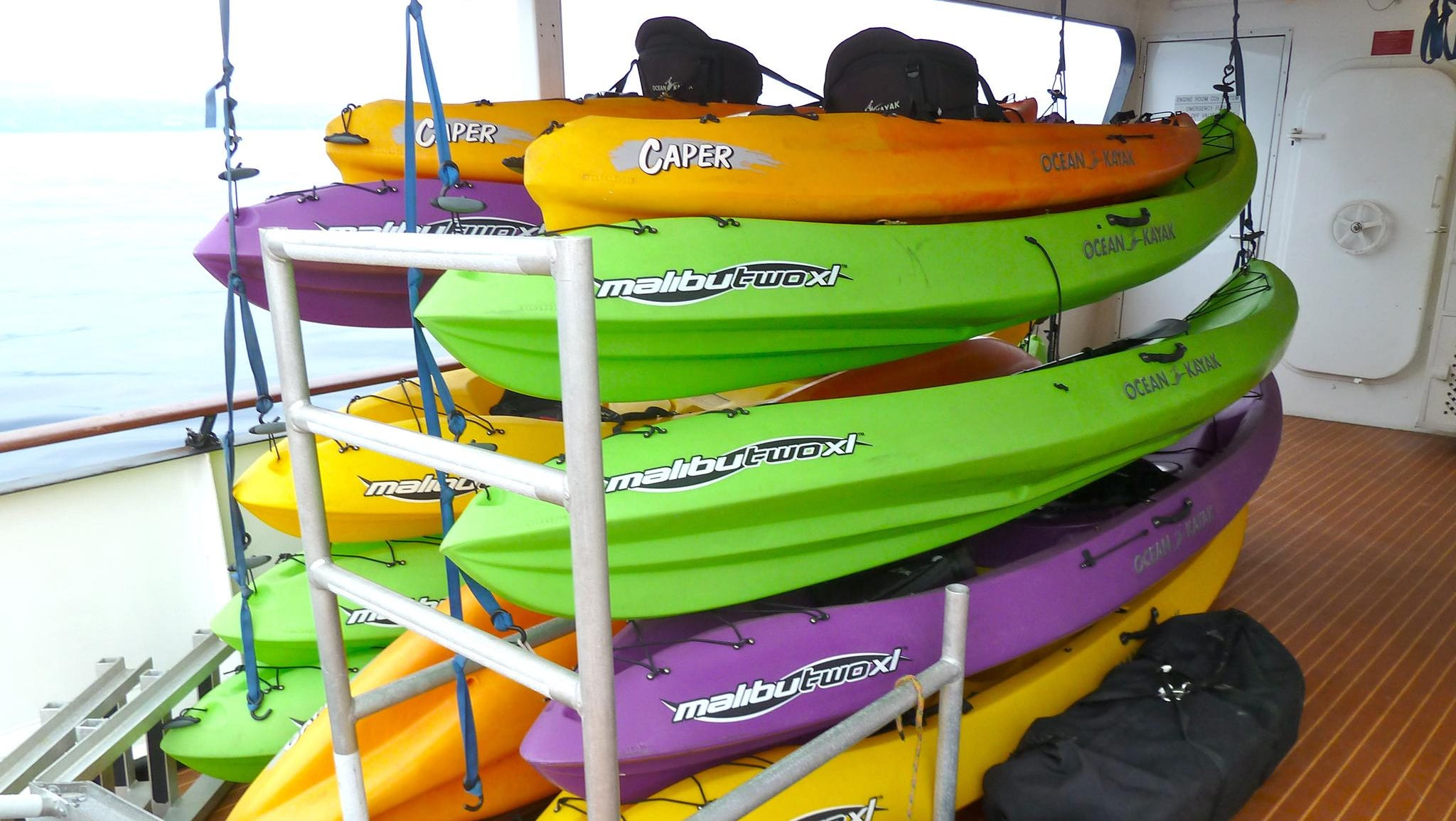 The Safari Explorer has a veritable fleet of sea kayaks for guests' use.