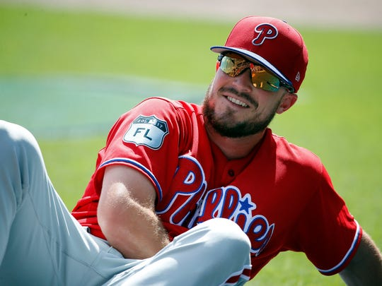 Philadelphia Phillies first baseman Brock Stassi was all smiles during spring training.