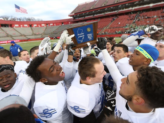 Sayreville celebrates their come from behind sectional win vs. Middletown North in North 2 Group IV sectional football championship at Rutgers University's High Point Solutions Stadium. Sayreville came from behind to win 41-14. Dec. 3, 2016, Piscataway, NJ.