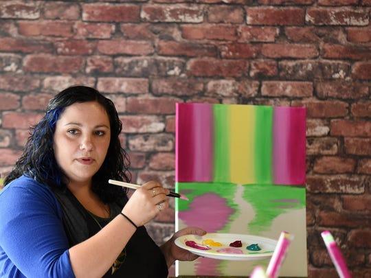 Branislava Backer teaches a Paint & Pinot event at