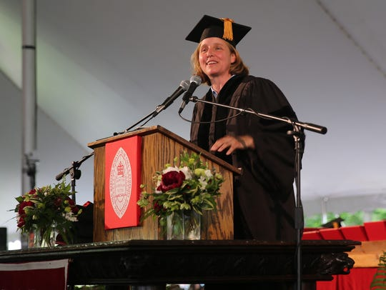 Megan J. Smith delivers the commencement address at