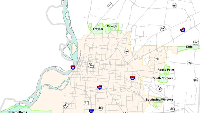 Map showing areas of Memphis considered for deannexation