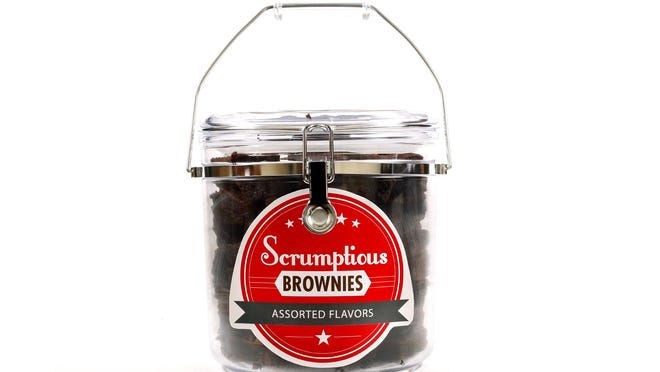 A jar of Scrumptious Brownies in assorted flavors.