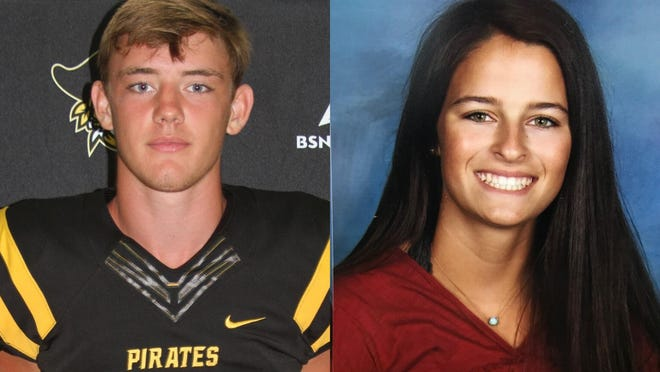 Topsail's Gavin Ellis (left) and Hoggard's Ayla Johnson both made college commitments in recent weeks. Ellis is heading to Wake Forest to play football, while Johnson chose to continue her beach volleyball career at Georgia State.