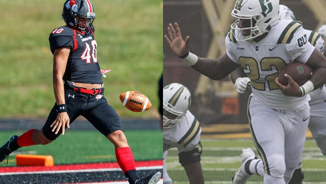 Saturday's football game between Gardner-Webb and Charlotte will pit brothers Devin Baldwin (left) and Tre Harbison.